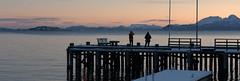 Sunrise over the pier, Harstad, Troms, Norway