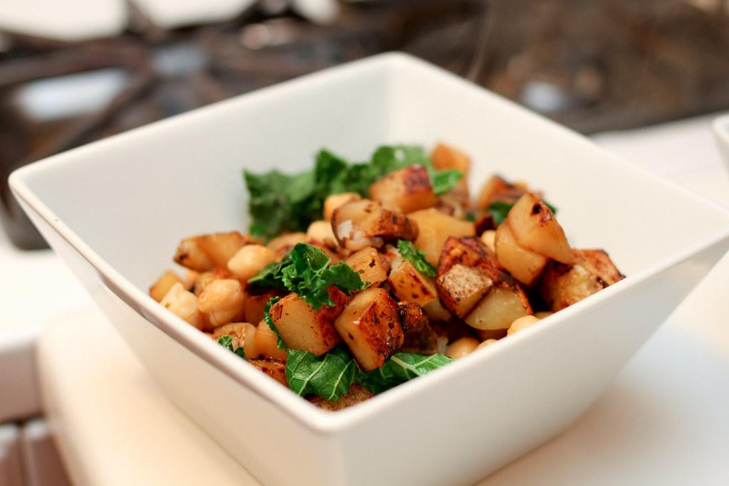 Fried Potatoes, Chickpeas & Kale