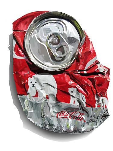 Una lata de Coca-Cola aplastada