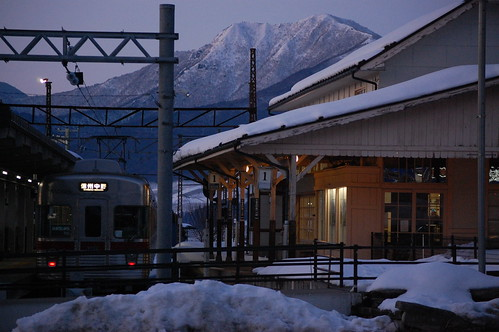 sunset snow railway 日本 nagano