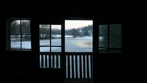 The view from inside the boat house