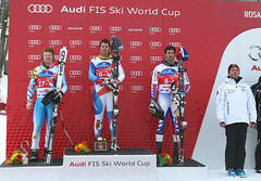 Ben Thomsen on the podium in the downhill in Sochi, Russia.