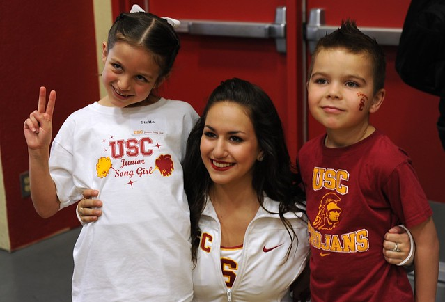 The kids and a USC Song Girl