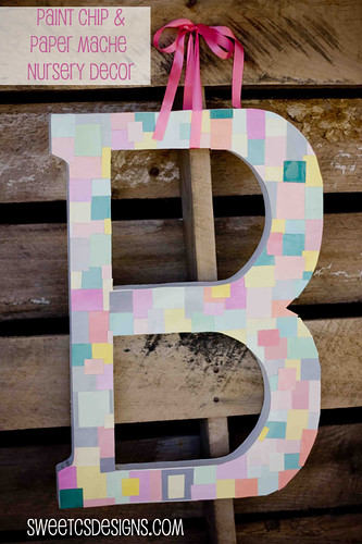 so cute- take a paper mache letter and add paint chips for a fun, bright and easy monogram to dress up a room. great for nurseries! #paintchips