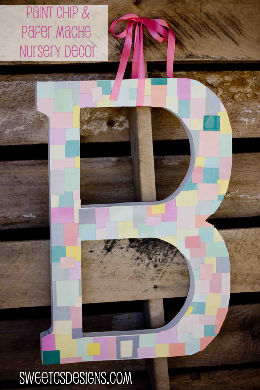 Paint Chip and Paper Mache monogram- totally easy and such a fun and bright way to decorate!
