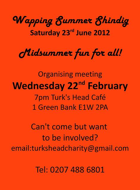 Wapping Summer Shindig 2012 - organising meeting