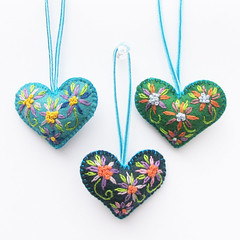 Green Embroidered Heart Trio