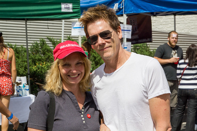 Kathy Klenk left with actor Kevin Bacon right