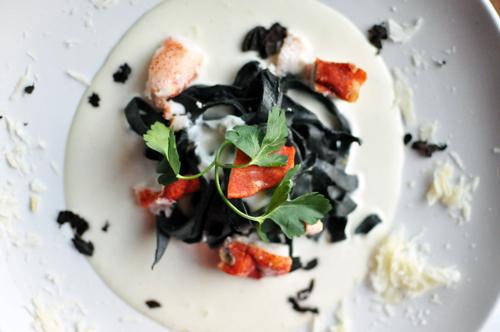 pasta noir with truffle cream sauce, lobster