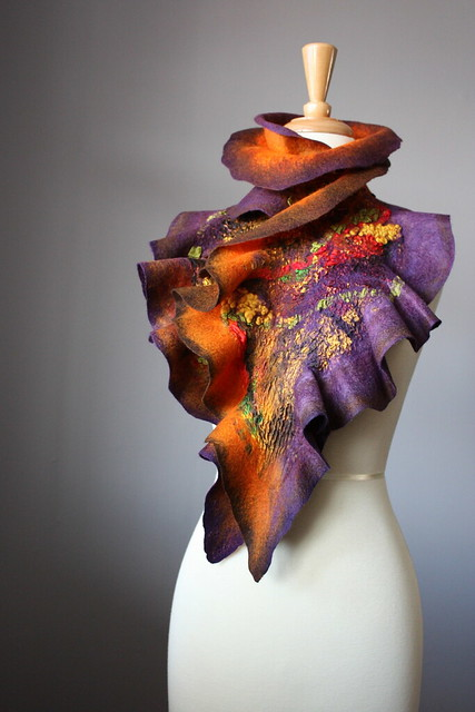 Nuno Felted scarf Wool Silk Purple Brown Orange collage Abstract Contemporary