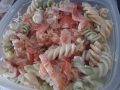 salad(0.0), spaghetti(0.0), seafood(0.0), produce(0.0), scampi(0.0), carbonara(0.0), pasta salad(1.0), food(1.0), dish(1.0), cuisine(1.0),