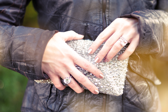 sequined   clutch - leather jacket- rings
