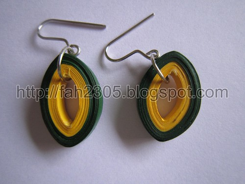 Paper Jewelry - Handmade Quilling Earrings (Oval) by fah2305