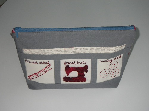 zippy pouch front - embroidered