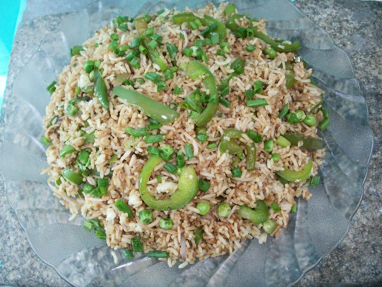 Capsicum fried rice stir fry bell pepper rice with peas lunch fried rice is my absolute favorite onei make it often in my house but use a whole lot of different vegetables in ityou can see quite a few fried rice ccuart Choice Image