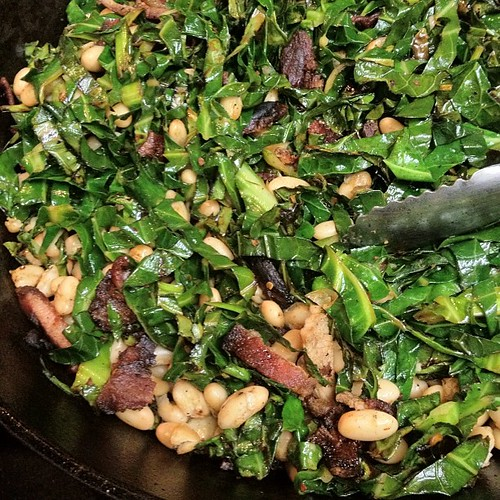 Salt Pork & Brussel Sprout Greens made from my @jbgorganic CSA