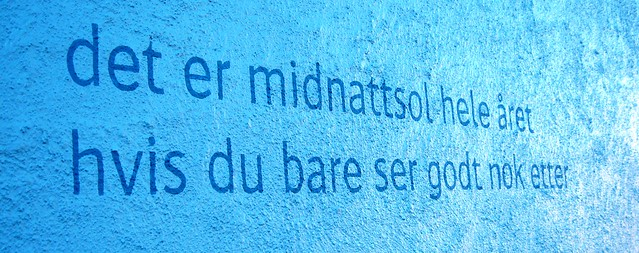 Outdoor poetry, Sortland, the Blue Town, Arctic Norway