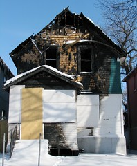 Burned out home in West End