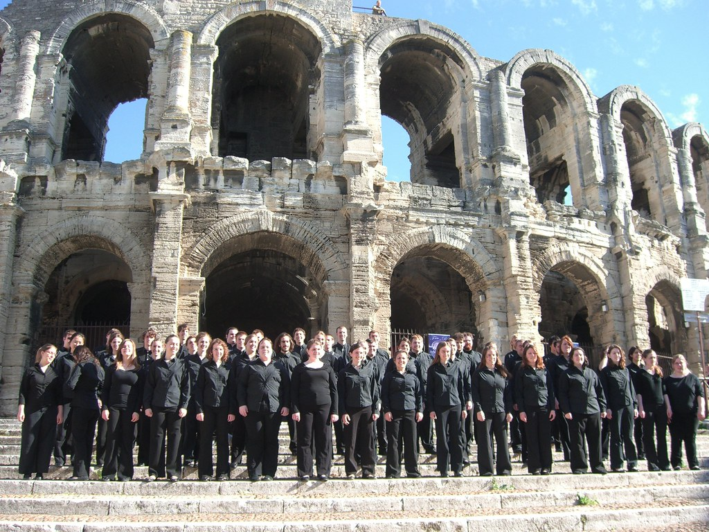 Houghton College Choir and Chamber Orchestra in front of the Coliseum in Rome