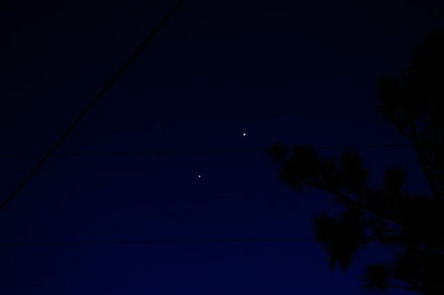 Jupiter falling, Venus rising