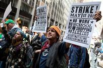 Hundreds of youth marched in commemoration of the beginning of Occupy Wall Street six months ago. Many of the participants at the march were delegates to the Left Forum that is taking place at Pace University. by Pan-African News Wire File Photos