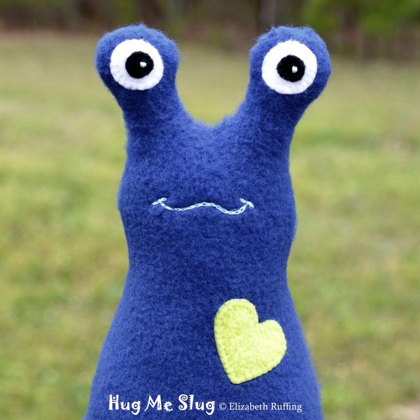 Dark Royal Blue Fleece Hug Me Slug, original art toys by Elizabeth Ruffing
