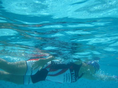 Next Step Tri Camp: Coach Ani underwater