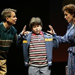 Jason (13-year-old Newton, Mass., native Jacob Brandt) is frustrated by his parents Marvin (Geoffrey Nauffts, l.) and Trina (Linda Mugleston, r.)  in the Huntington Theatre Company's production of