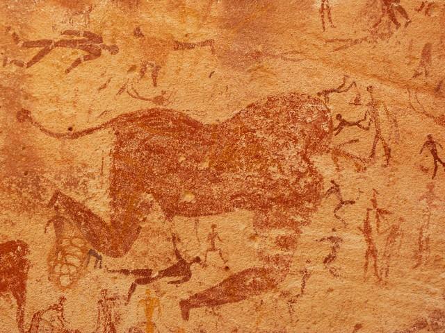 Detalle de la cueva de las bestias (Wadi Sura 2, Desierto Líbico)
