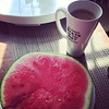 Watermelon and coffee. Yum. #breakfastofchampions