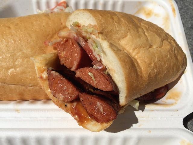 Louisiana hot link sandwich - Kinder's Truck