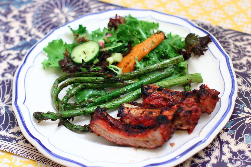 Sunday Dinner: B's Baby Back Ribs and Spring Salad with Grilled Carrots