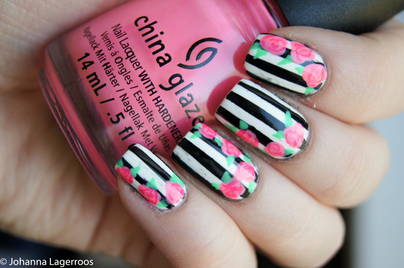 stripes and roses nails