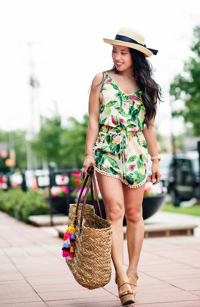 leaf print romper with pom-pom trim, summer straw hat outfit