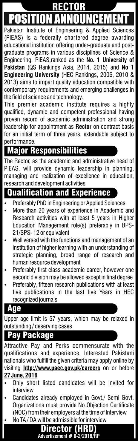PIEAS Rector Required