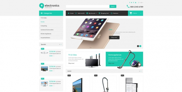 Electronic Store - OpenCart 2.0.1.0 Template