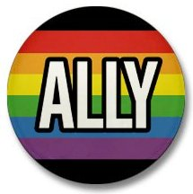 "A rainbow pin that says ""Ally"""