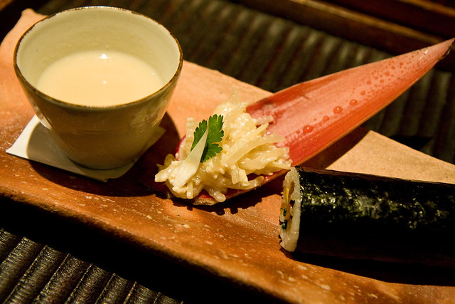Fortune sushi roll, sake kasu soup, and salad of banana flower, bamboo skin, and bean sprouts, Kajitsu