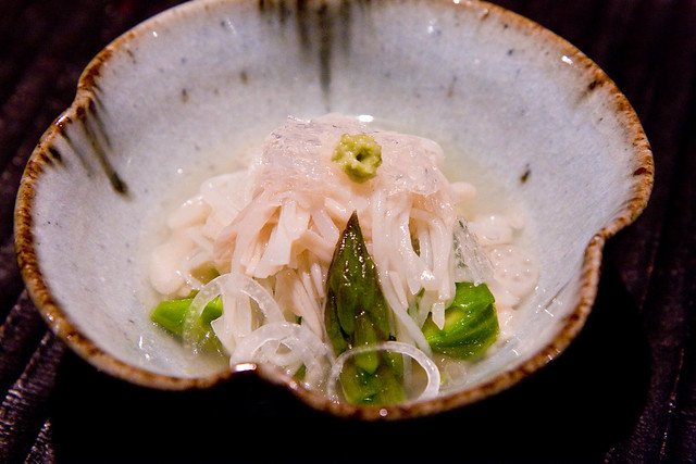 Grated celery root with early spring vegetables, Kajitsu