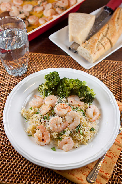 Spicy Garlic Roasted Shrimp on Lemon-Parmesan Orzo
