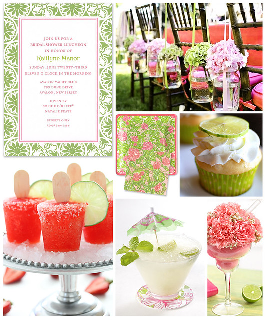 Choose a fun Lilly Pulitzer invitation like this pink and green style