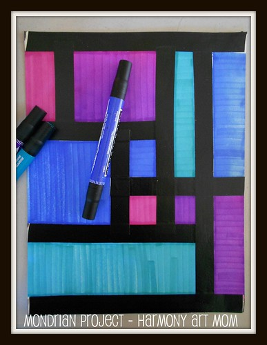 Mondrian Project with tape and markers