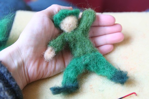 Needle-Felted Leprechaun in Progress