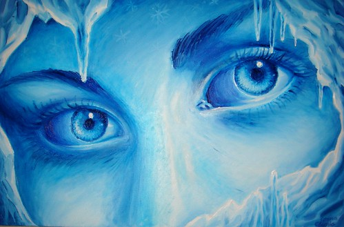 Privirea rece a iernii pictura ulei pe panza - The cold eyes of winter oil on canvas painting