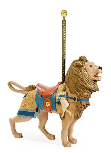 Carved and painted carousel lion after model by Dentzel, lot 7247