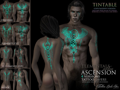 Ascension Tattoo, tintable version + Fallen Gods Inc., 350 lindens by Cherokeeh Asteria