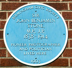 Photo of John Benjamin Stone blue plaque