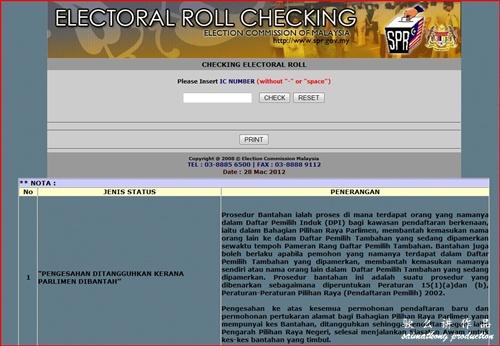 Check Your Voter Status - Semakan Daftar Pemilih Suruhanjaya Pilihan Raya Malaysia (SPR)