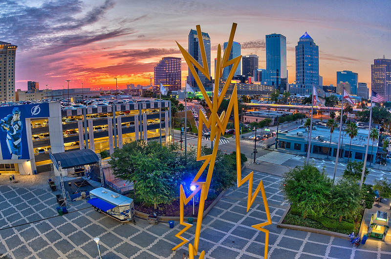 Tampa Bay Times Forum Party Deck Sunset