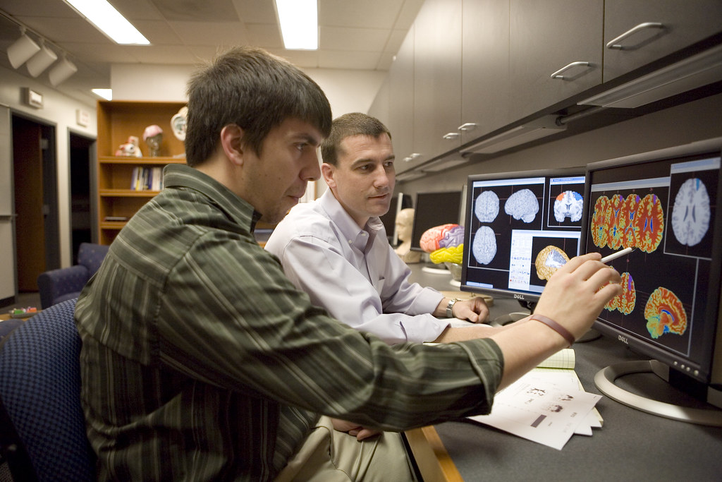 Psychology Professor Kevin Wilson uses brain imaging software while collaborating with a student.